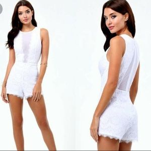 Bebe White Lace Mesh Plunging Deep V Romper